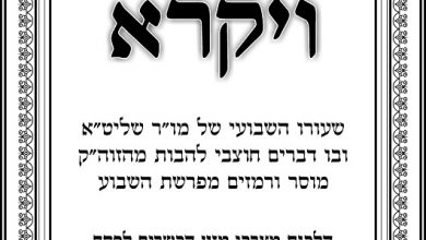 "Photo of פרשת ויקרא התשפ""א"